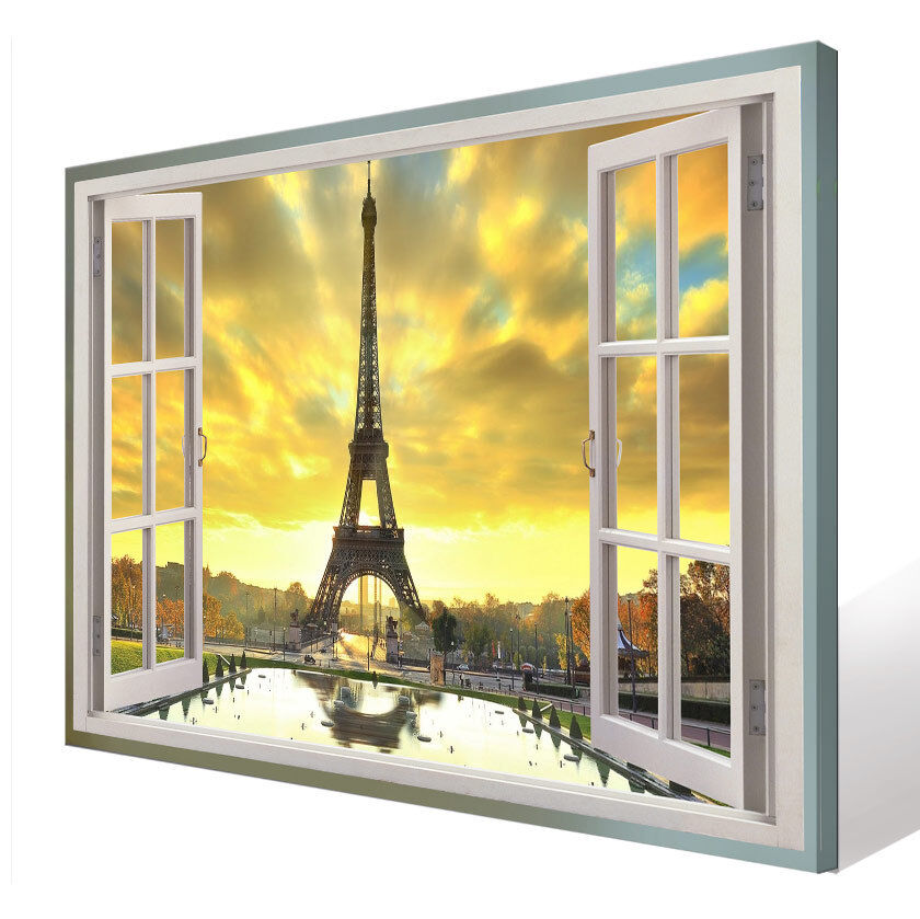 Wandbilder Bilder Leinwand Eiffelturm Landschaft Fensterblick Kunstdruck D1118