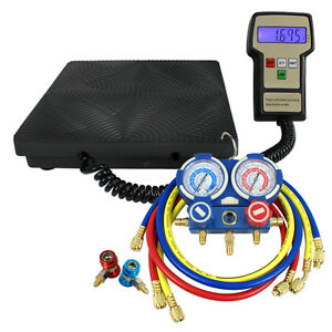 AC-Manifold-Gauge-Set-R410a-R22-R134a-w-Hoses-Electronic-Charging-Scale-220lbs