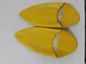 Babouche-Moroccan-Embroided-Yellow-Traditional-Handmade-Leather-Sole-Slippers