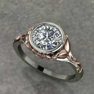 1-30Ct-Nearly-White-Moissanite-Engagement-Wedding-Ring-925-Silver-Rose-Gold
