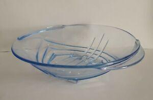 Vintage-Art-Deco-Czech-Stolzle-Blue-Glass-Bowl-1930s