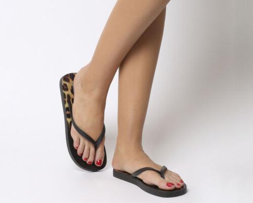 Womens Office Seaside Ombre Toe Post Sandals Black Leopard Sandals
