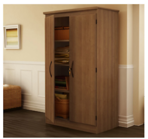 Details About Locking Storage Cabinet Locked Oak Pantry Armoire Large Office Bathroom Laundry