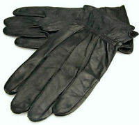 NEW MENS REAL LEATHER GLOVES BLACK FLEECE LINED DRIVING SOFT WINTER
