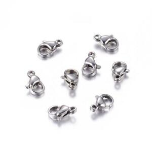 200pcs 10mm 304 Stainless Steel Lobster Claw Clasps Smooth Trigger Clasp Finding