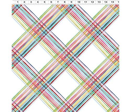 par Clothworks 100/% tissu de coton-Hearts /& Cross Hatch Heureux