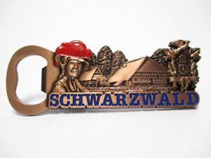 Schwarzwald-Black-Forest-Metall-Flaschenoeffner-Magnet-9-5-cm-Souvenir-Germany