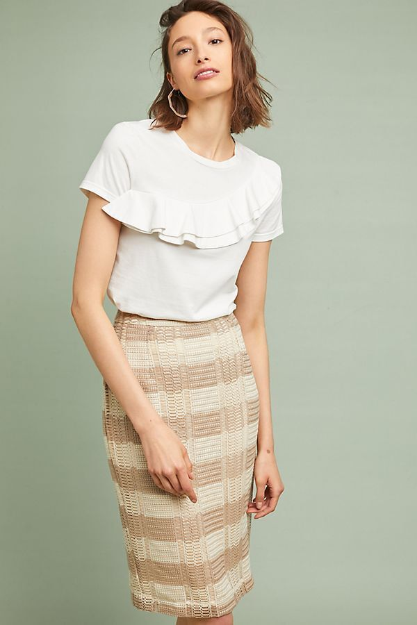 Anthropologie Skirt L LEFT CENTER Pencil NAOMI STRIPED Sweater Ivory Tan NWT