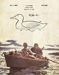 Antique Mallard Hunting Hunter 506 Official Decoy Duck US Patent Art Print
