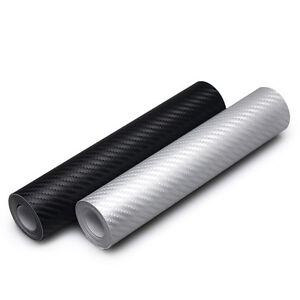 Black-3D-Carbon-Fiber-Vinyl-Car-Wrap-Sheet-Roll-Film-Sticker-Decal-10x127cm-New