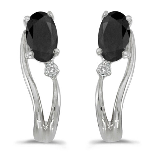 Details about  /14k White Gold Oval Onyx And Diamond Wave Earrings