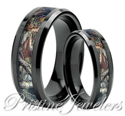 Black Titanium Brown Oak Real Forest Camo Ring Men Women Mossy Tree Wedding Band
