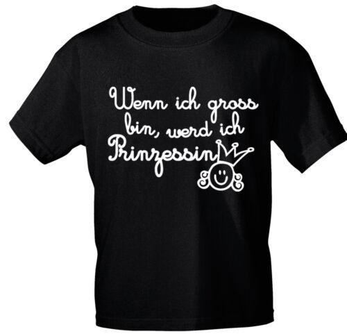 Kinder T-Shirt schwarz Gr 92-140 Wenn ich gross bin werd ich Prinzessin 08189