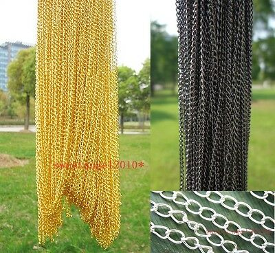 Lots 30Pcs Fine Necklace Gold/Silver/Black Cross Chain For Jewelry Making 48CM