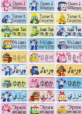 48 ROBOCAR POLI Custom Waterproof Name Labels-DAYCARE,SCHOOL (Buy 5 get 1 FREE)