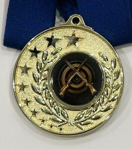 Shooting-Crossed-Rifles-Bright-Gold-52mm-Medal-Engraved-Ribbon-FREE