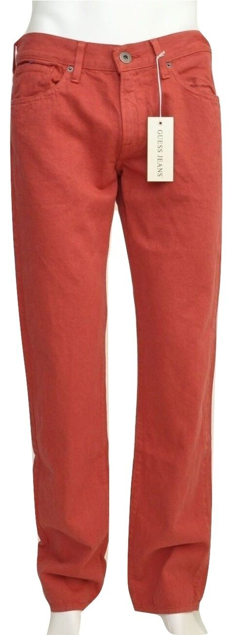 e2ba2a6b Guess LINCOLN Slim Straight Leg Denim Jeans Pants Faded Red 32x32 33x32 Nwt