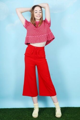 The Whitepepper Peplum Knit Pattern Top Red and Pink Hipster