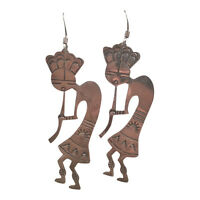 Vintage Navajo Sterling Silver Kokopelli Dangle Earrings