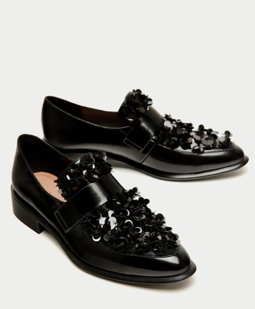 divertiti con uno sconto del 30-50% Zara Donna  con lustrini lustrini lustrini Mocassini nero con dettaglio floreale-nuovo Regno Unito 5  per offrirti un piacevole shopping online