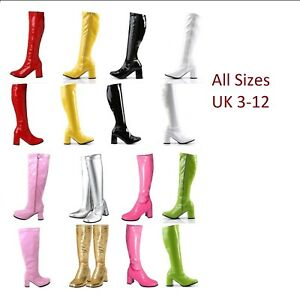 Size 3-8 UK New Knee High Boots 60/'s 70/'s Go Go Fashion Boots White Patent