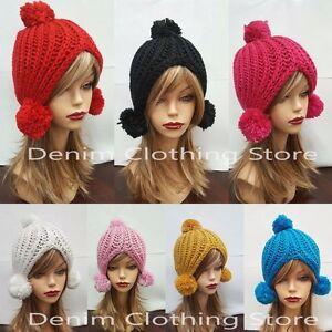 fe68045acbe Details about Women Winter Beret Warm Baggy Beanie Knit Crochet Hat W Puff  Ball Slouch Ski Cap