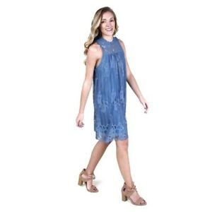 5afa3eb6d11 Details about NWT Altar'd State Doll House Delicate Blue Lace Dress  Victorian Neckline Sz M