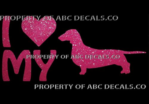 VRS LOVE My Dog DACHSHUND WIENER Heart Puppy Adoption CAR DECAL METAL STICKER
