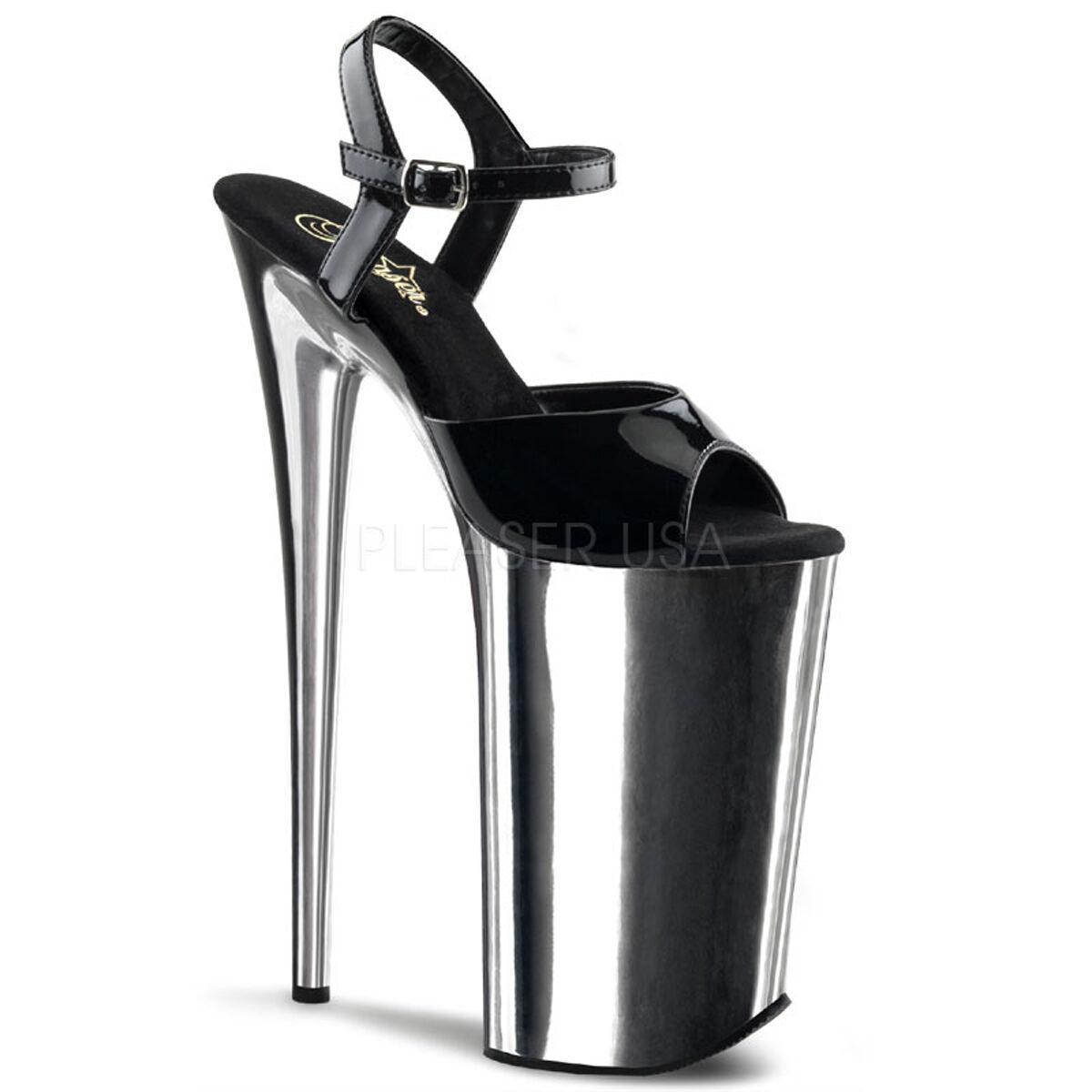PLEASER BEY009 B SCH Sexy argent Chrome Chrome Chrome Platform 10  High Heels chaussures Sandals 9b3598