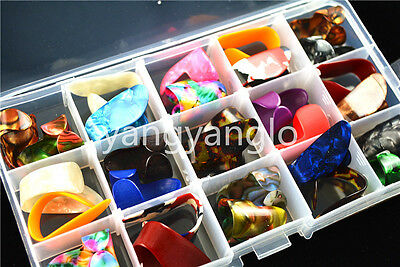 30pcs Celluloid Finger Thumb Picks Guitar Plectrums+1 Large Plastic Picks Case
