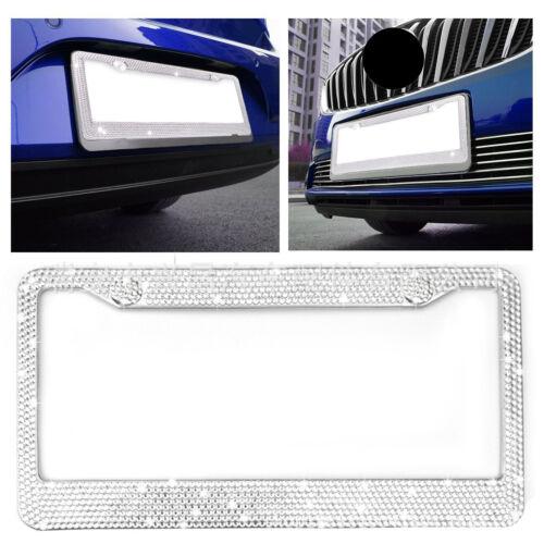 Stainless License Plate Frame Chrome Glitter Crystal Diamond Bling Rhine Stones