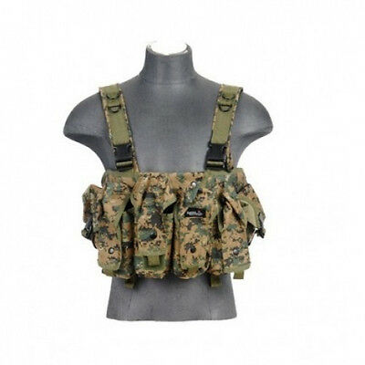 Lancer Tactical AK Airsoft Chest Rig w// Vest Pouch MARPAT Woodland Digital