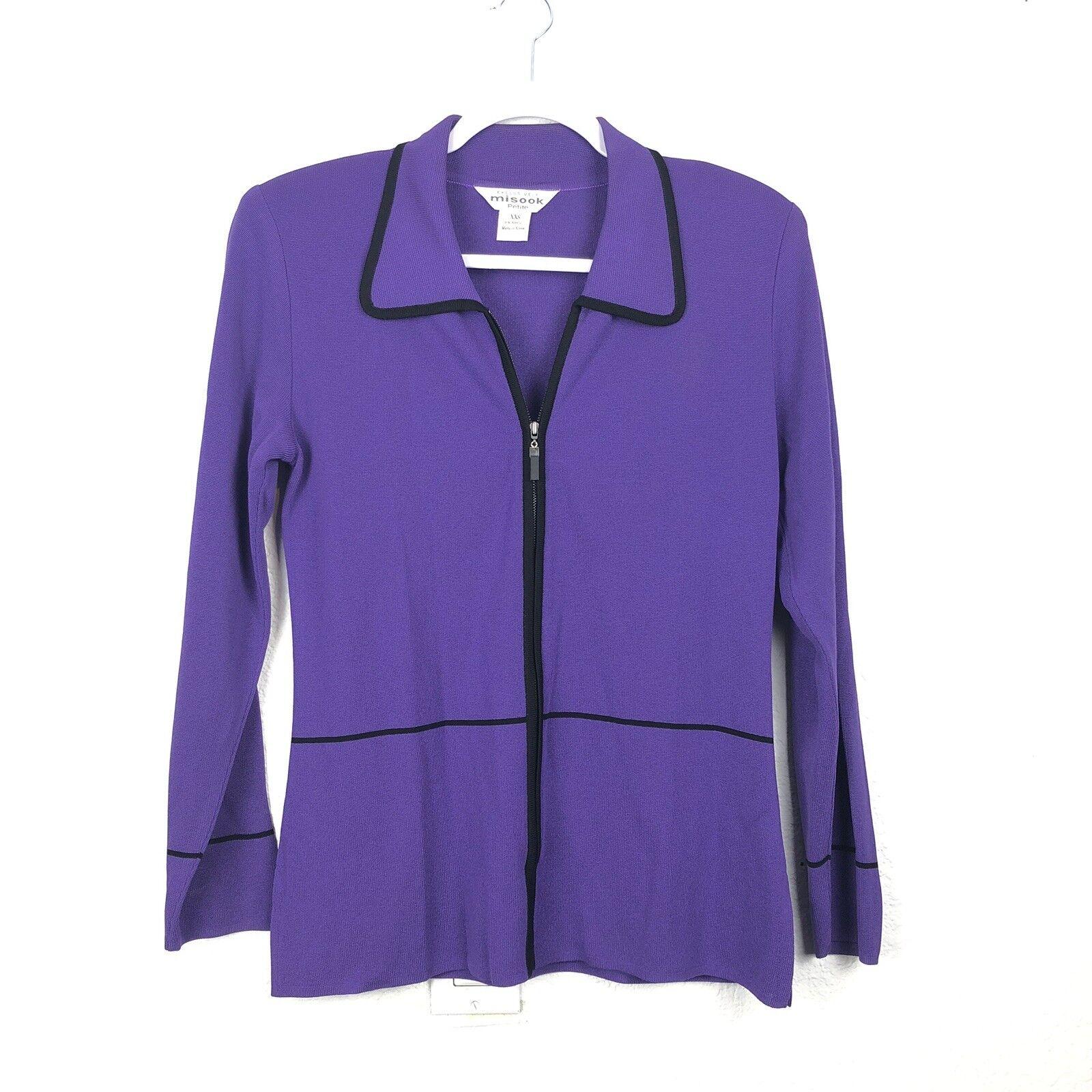 Exclusively Misook Petite damen blouse Größe Xxs lila Zip Up Cardigan (BSKT)