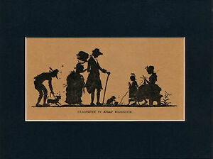 Original 1905 Antique Bodenheim Print SILHOUETTE Group Mom Child Knitting Matted