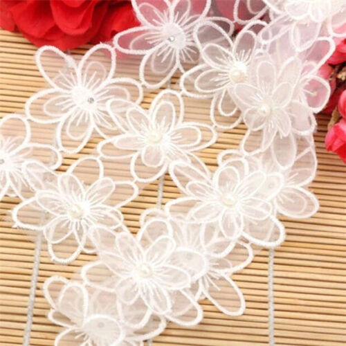 FD3072 Embroidered 2-layer Flower Mesh Applique Pearl Core Lace Trim DIY 1 Yard☆