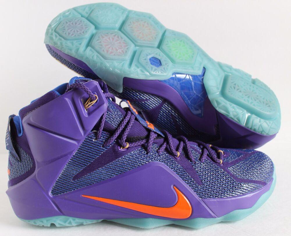 Nike Men Lebron XII 12 iD Varsity Purple-Orange-Blue  Chaussures de sport pour hommes et femmes