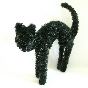 Black-Cat-Scary-Halloween-Decor-Arched-Back-Shiny-Tinsel-Wired-12-034-tall-body