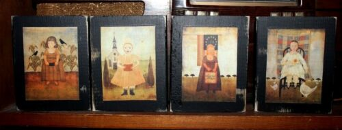 Girls Women Dolls Primitive Rustic Wooden Four Piece Shelf Sitter Block Set