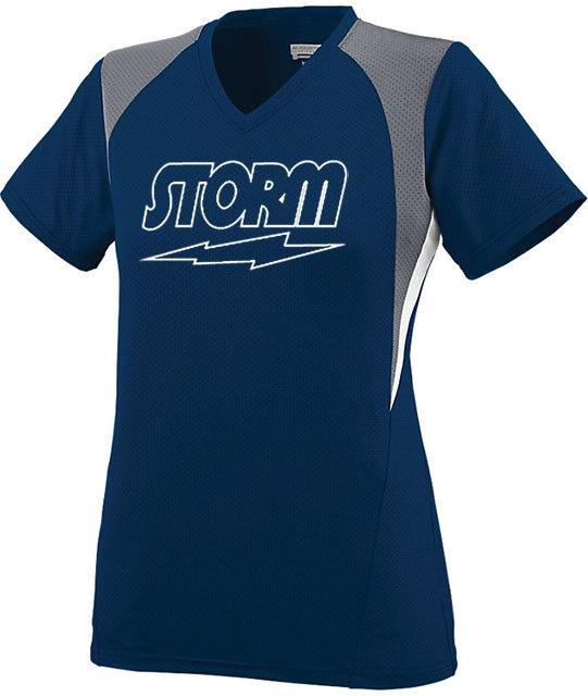 Storm Women's Phaze Performance Crew Bowling Jersey Shirt Navy bluee