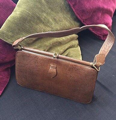 Bella Pelle Di Serpente Marrone In Pelle 40s 50s Vintage Bag-mostra Il Titolo Originale I Cataloghi Saranno Inviati Su Richiesta