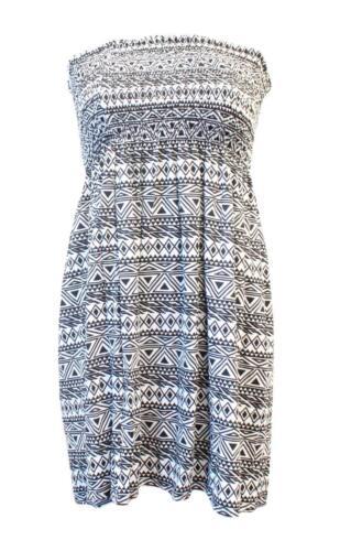 Ladies Summer Boobtube Bandeau Short Strapless Printed Top Dress Size 4-18