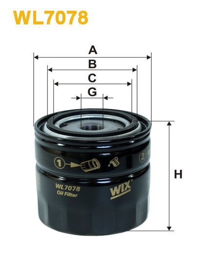 Wix WL7078 Car Oil Filter - Spin-On Replaces W913 PH16 AW39