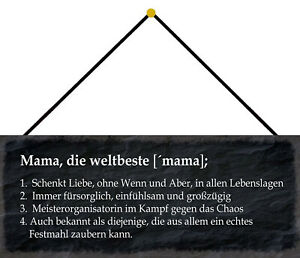 Mama - Die World's Best Tin Sign Shield with Cord 10 X 27 CM K0241-K