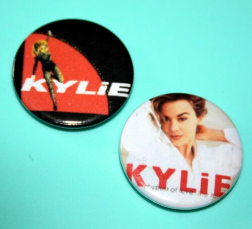 SET OF 2 KYLIE MINGLE MUSIC ROCK POP BUTTON PIN BADGE
