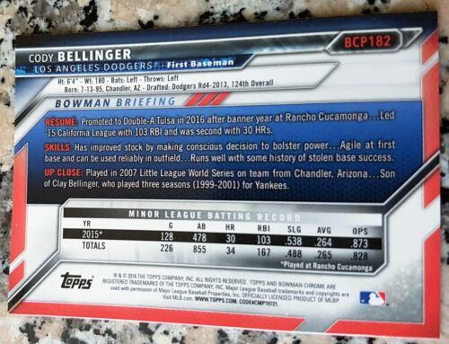 CODY BELLINGER 2016 Bowman Chrome Rookie Card RC Dodgers $ HOT $ HR Power $