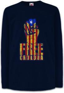 FREE-CATALONIA-FIST-Kinder-Langarm-T-Shirt-Freedom-Free-Banner-Faust-Katalonien