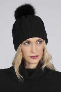 f57a99ada5dc2 Black pure cashmere fur pom pom cable knit beanie hat MADE IN ITALY
