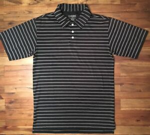 Champs-Sports-Small-Mens-Polo-Golf-Shirt-Black-With-White-Stripes
