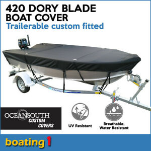 Quintrex-420-DORY-Dory-Blade-Trailerable-custom-fitted-black-boat-cover