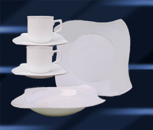 18 PCS Porcelain Dinner Coffee Dishes Set Service Plate 6 Pers AWG WHITE